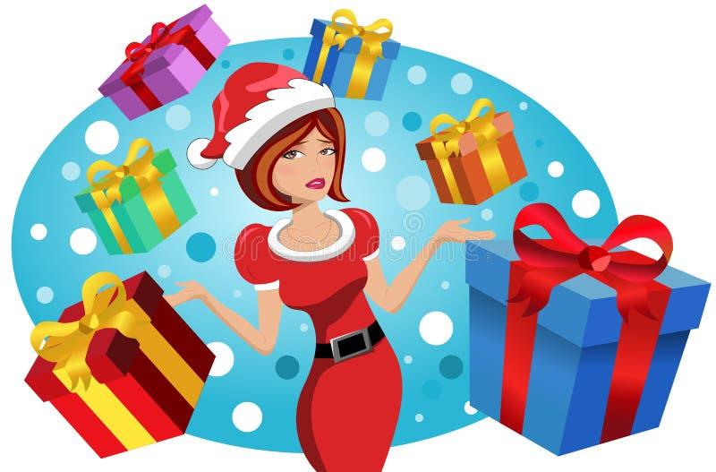Cadeaux de cadeau d'effort de Noël de femme illustration de vecteur