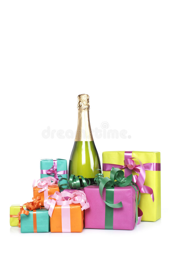 cadeaux de champagne de bouteille image stock