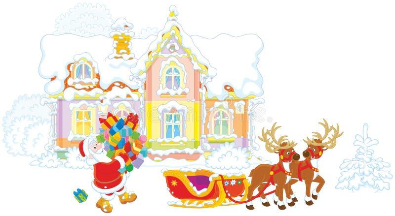 Cadeaux de chargement de Santa dans son traîneau illustration de vecteur