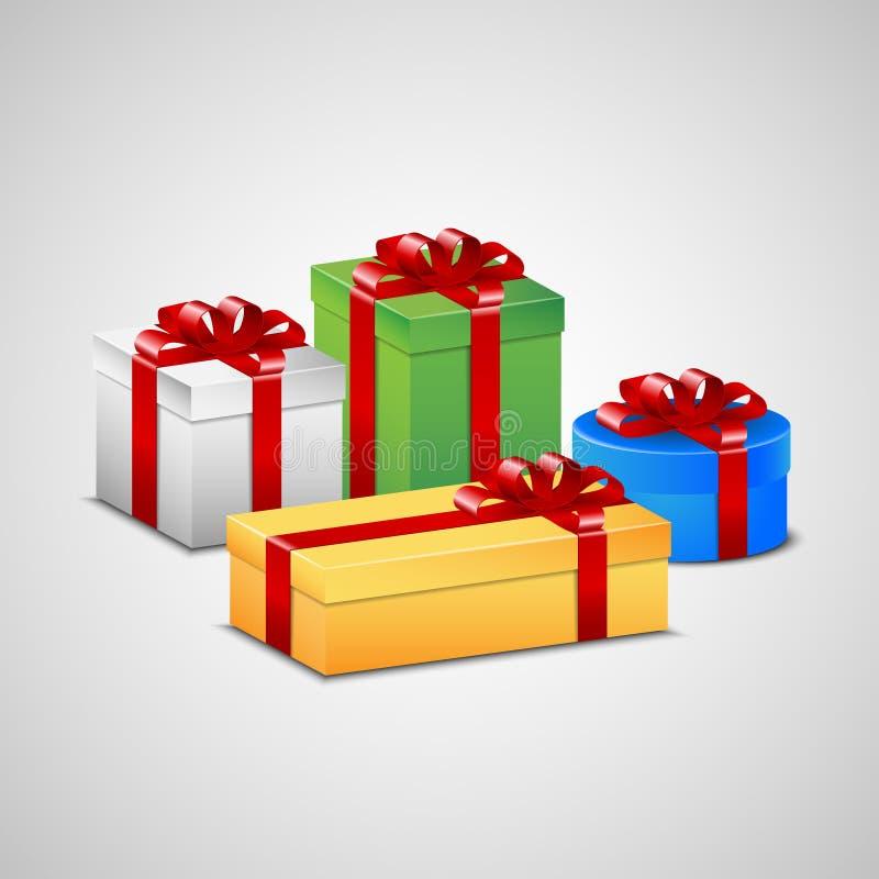 Cadeaux de Noël dans différentes couleurs illustration de vecteur
