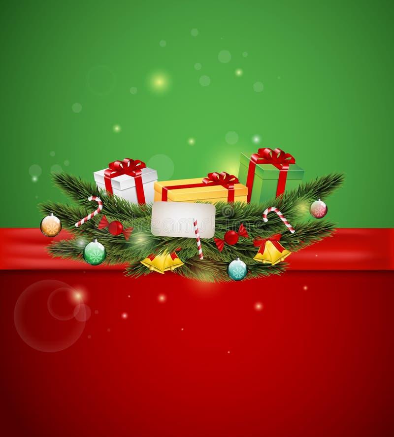 Cadeaux de Noël et ornement illustration stock