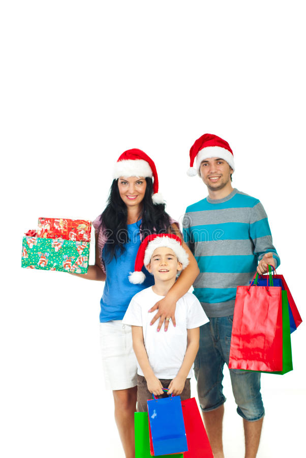 Cadeaux de Noël heureux de fixation de famille images stock