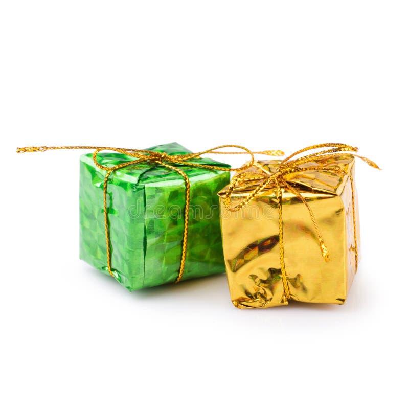 cadeaux de Noël pour des décorations d'isolement sur un backgroun blanc photo stock