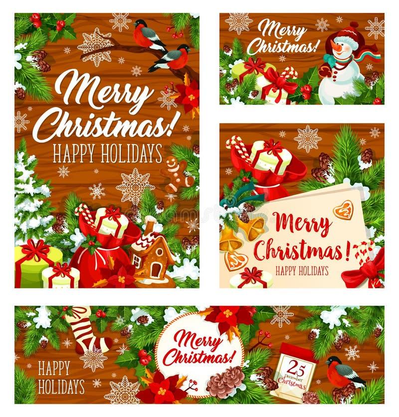 Cadeaux de Noël sur le fond en bois illustration libre de droits