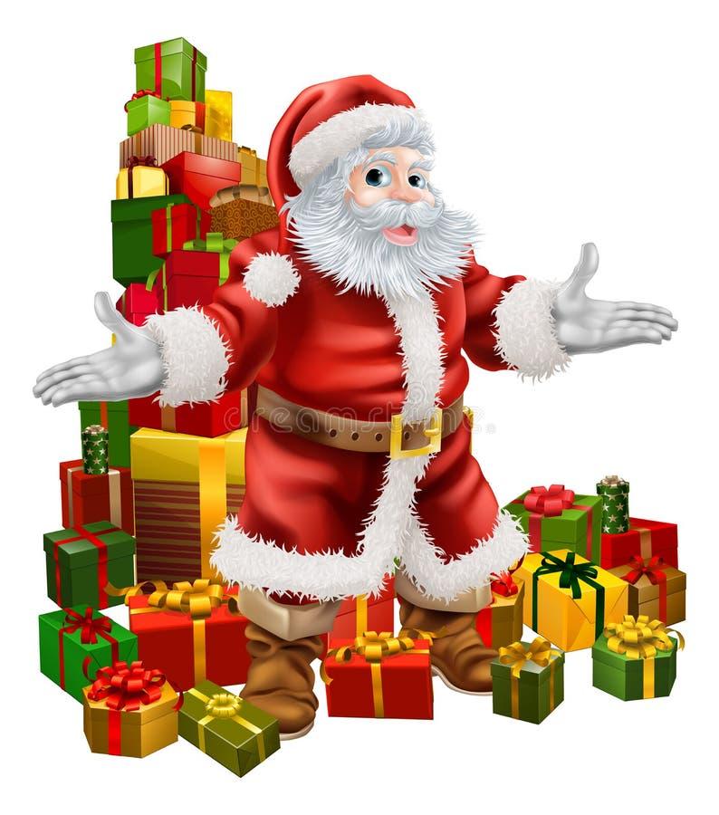 Cadeaux du père noël et de Noël illustration de vecteur