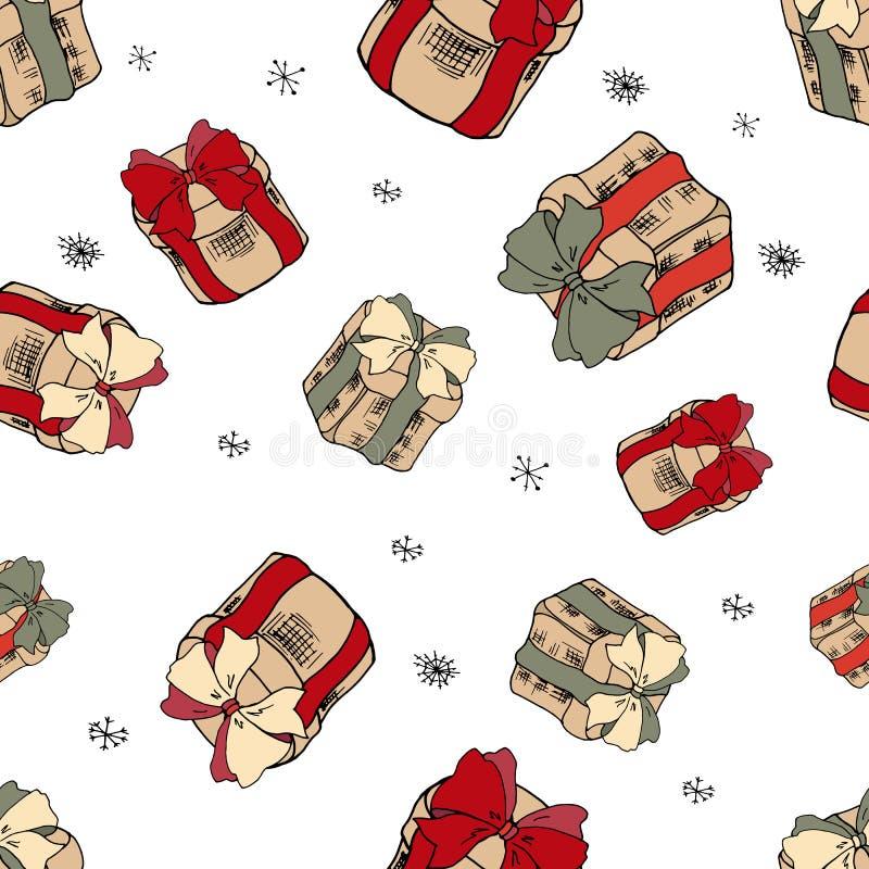 Cadeaux en baisse de Noël sur le fond blanc Modèle de Noël avec des cadeaux Boîte-cadeau avec les rubans rouges Joyeux Noël sans  illustration de vecteur