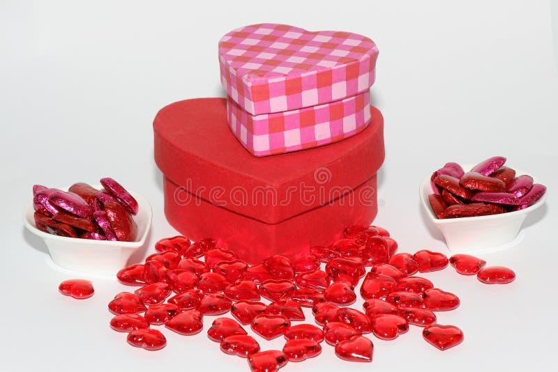 Cadeaux en forme de coeur pour le jour de valentines photographie stock libre de droits