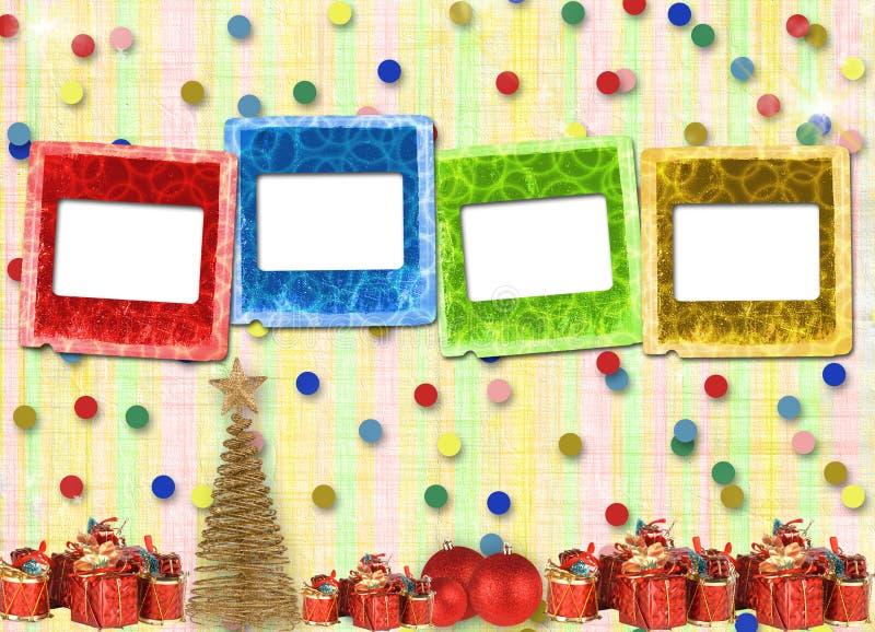 Cadeaux et billes sous l'arbre de Noël illustration stock