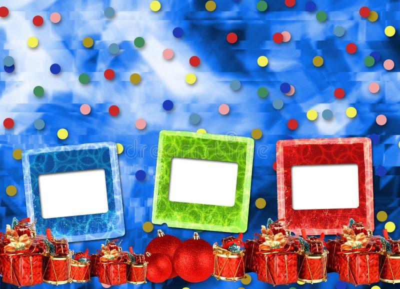 Cadeaux et boules sous l'arbre de Noël sur le fond abstrait illustration stock