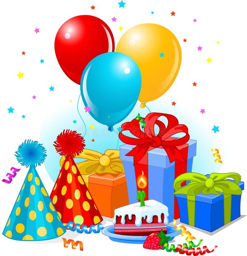 Cadeaux et décoration d'anniversaire illustration libre de droits
