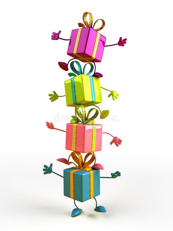 Cadeaux heureux illustration de vecteur