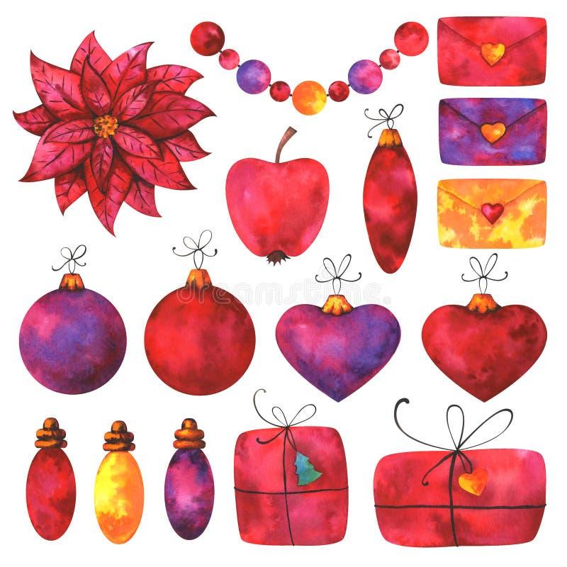 Cadeaux peints à la main, lettres, perles, lumières, décorations de babiole et éléments floraux d'isolement sur le fond blanc illustration stock