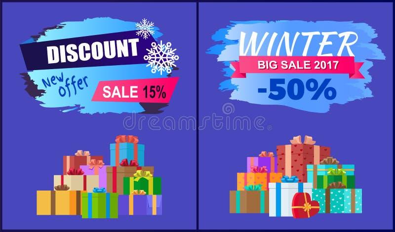 Cadeaux réglés de nouvelle d'offre de remise vente de l'hiver 2017 grande illustration de vecteur