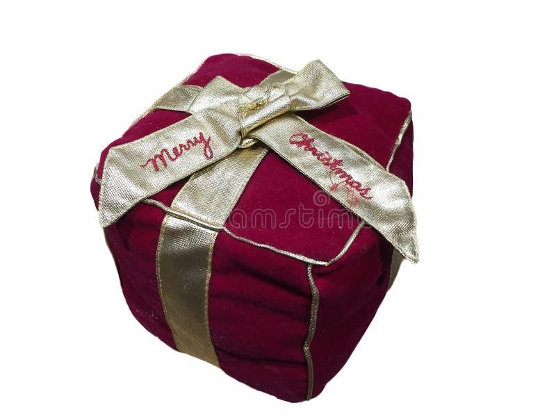 Cadeaux rouges de Noël avec le modèle d'or de ruban photographie stock