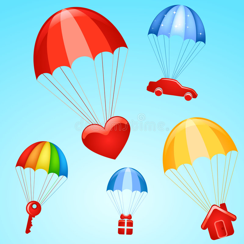 Cadeaux sur des parachutes illustration stock
