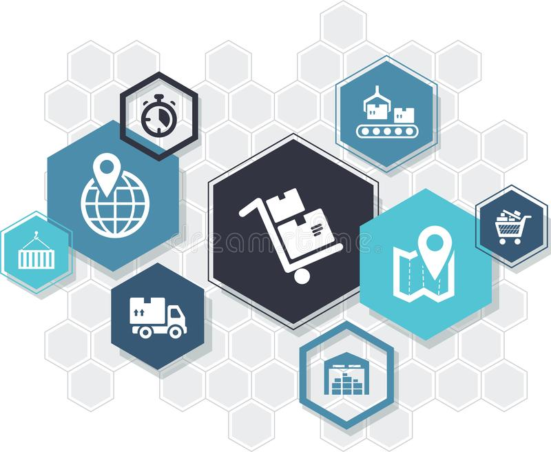 Cadeia de aprovisionamento & conceito do ícone dos hexágonos da logística: armazenando, ilustração vetor do †dos símbolos do en ilustração do vetor