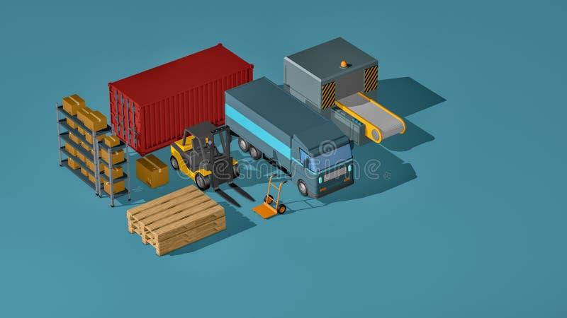 Cadeia de aprovisionamento, logística, transporte ilustração do vetor