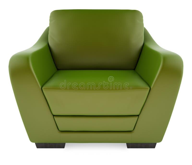 cadeira 3D verde em um fundo branco fotografia de stock
