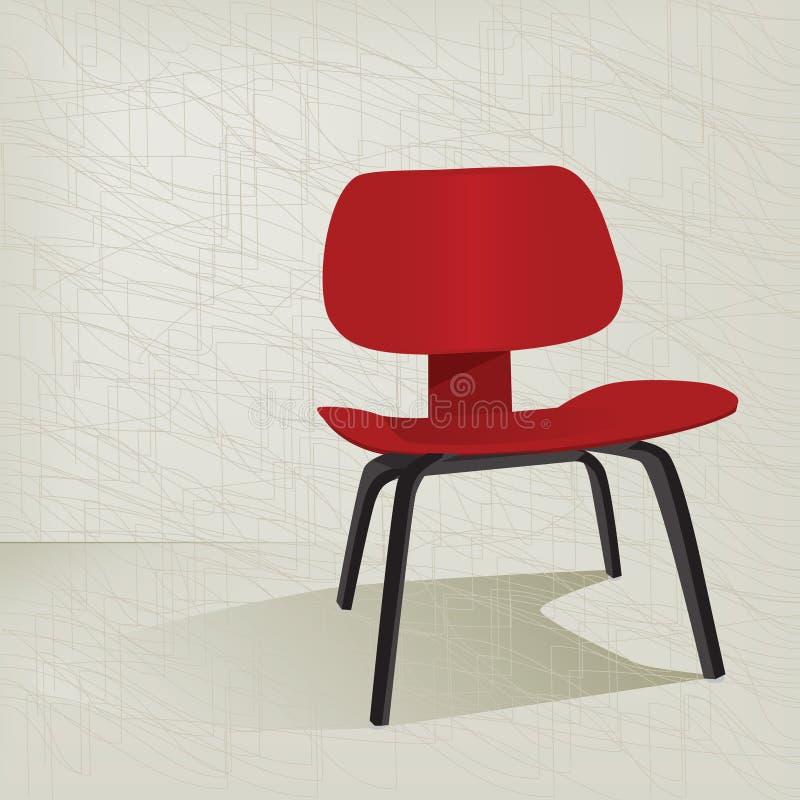 Cadeira 50s retro vermelha ilustração stock