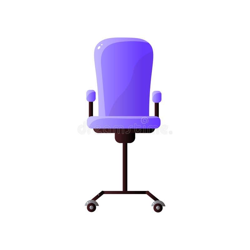 Cadeira ajustável do escritório com o estofamento roxo isolado no fundo branco ilustração stock
