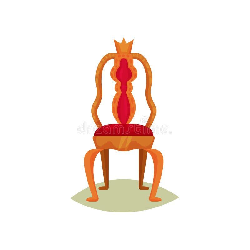 Cadeira antiga com guarnição e a coroa vermelhas de veludo Trono dourado do rei Mobília real luxuosa Artigo do museu Vetor liso ilustração stock