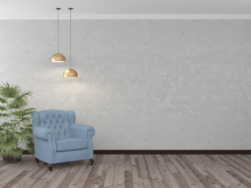 Cadeira azul contra uma parede leve com duas lâmpadas rendi??o 3d ilustração stock
