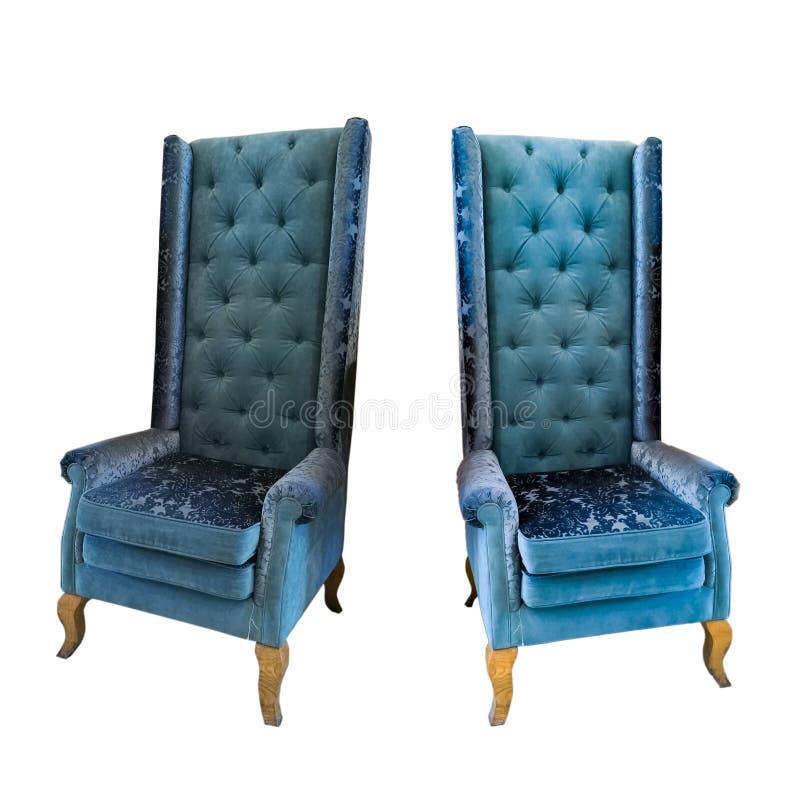 Cadeira azul do braço isolada no fundo branco foto de stock