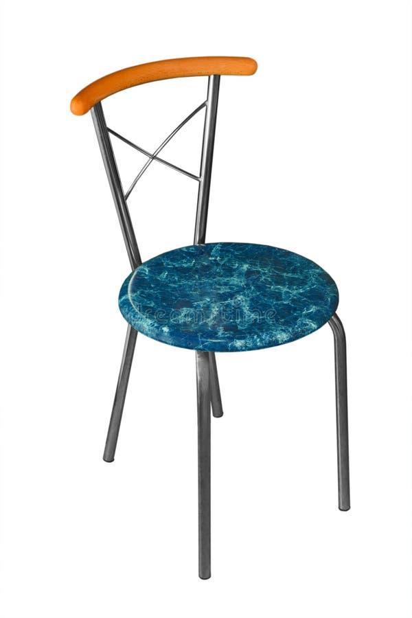 Cadeira azul do escritório com o ferro isolado no branco foto de stock royalty free