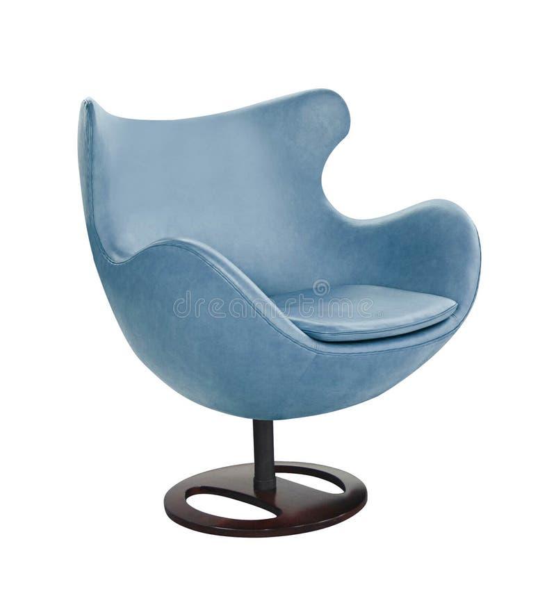 Cadeira azul do escritório isolada no branco foto de stock