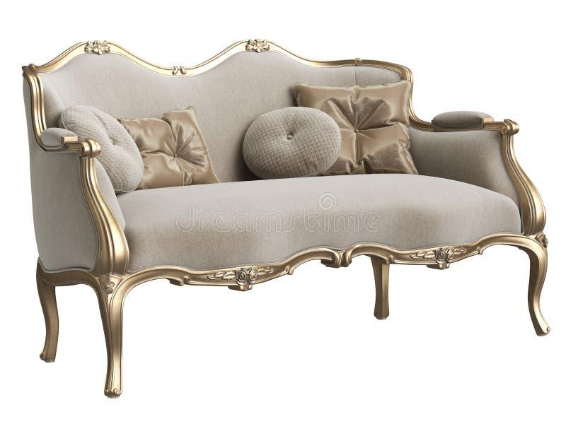 Cadeira barroco clássica isolada no fundo branco ilustração stock