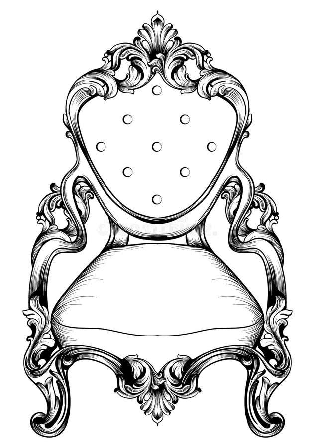 Cadeira barroco com ornamento luxuosos Estrutura intrincada rica luxuosa francesa do vetor Decorações reais vitorianos do estilo ilustração royalty free