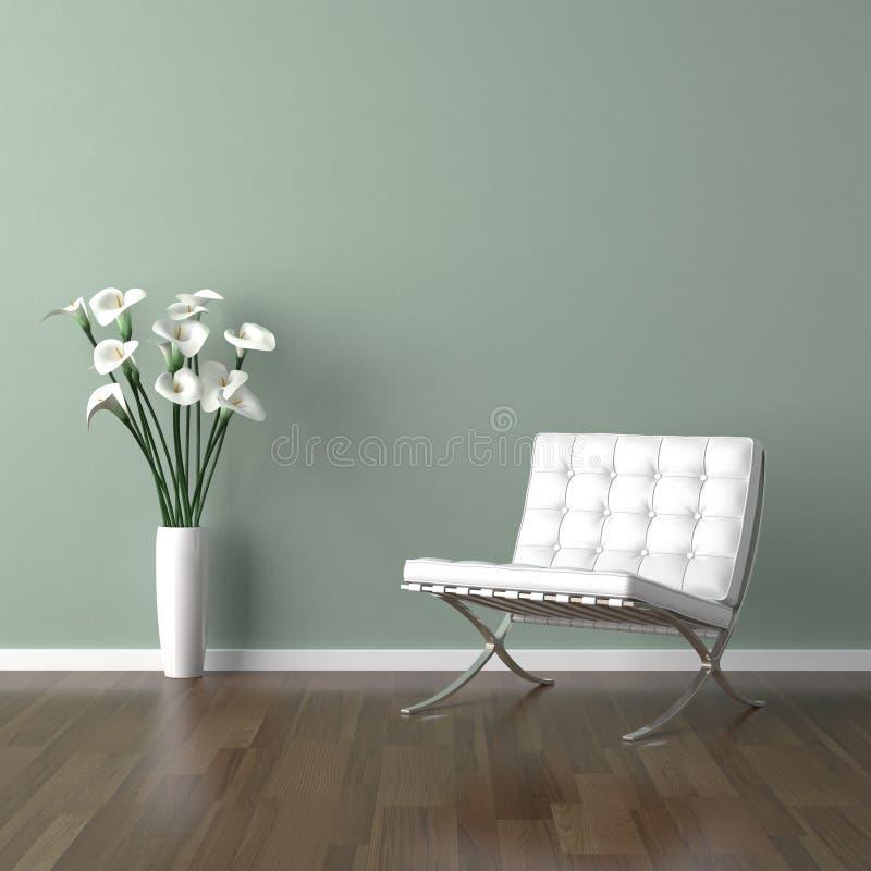 Cadeira branca de Barcelona no verde ilustração do vetor