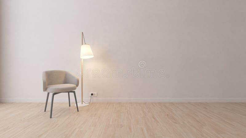 Cadeira cinzenta moderna na sala branca ilustração royalty free