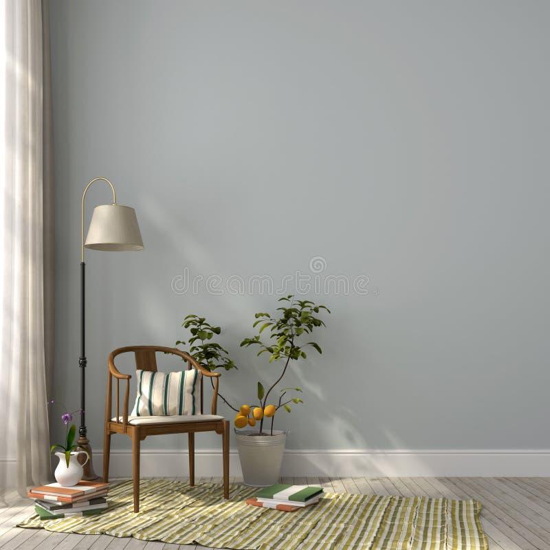 Cadeira clássica e uma lâmpada de assoalho ilustração royalty free