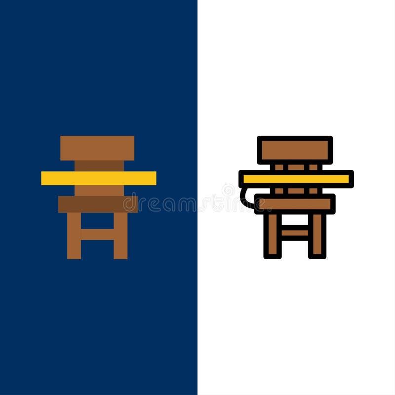 Cadeira, classe, mesa, educação, ícones da mobília O plano e a linha ícone enchido ajustaram o fundo azul do vetor ilustração stock
