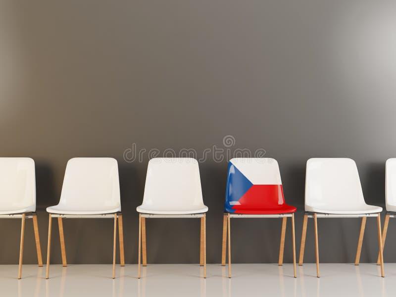 Cadeira com a bandeira da república checa ilustração stock