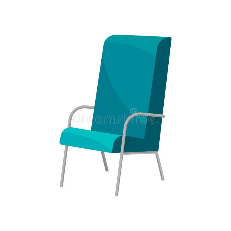 Cadeira com estofamento, pés do metal e os braços azuis brilhantes Mobília moderna para o escritório Assento confortável Vetor li ilustração stock