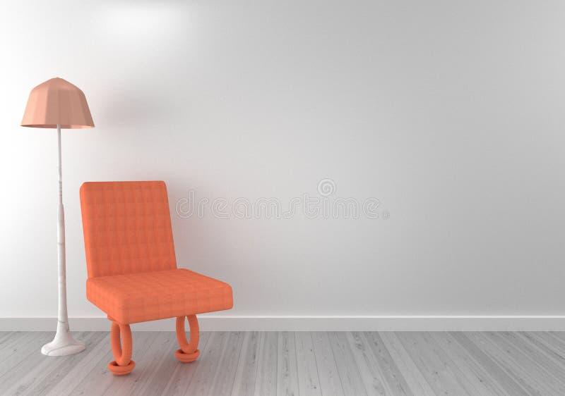 Cadeira com a lâmpada na sala de visitas rendição 3d ilustração royalty free