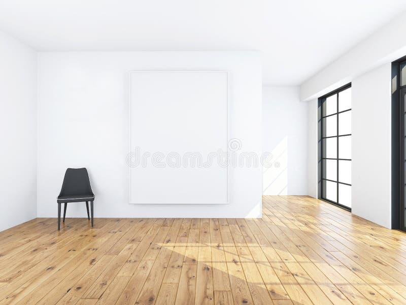 Cadeira com quadro na rendição da sala 3d imagens de stock