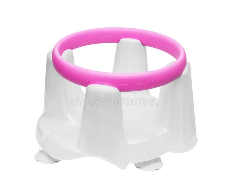 A cadeira cor-de-rosa-branca das crianças para banhar-se imagem de stock royalty free