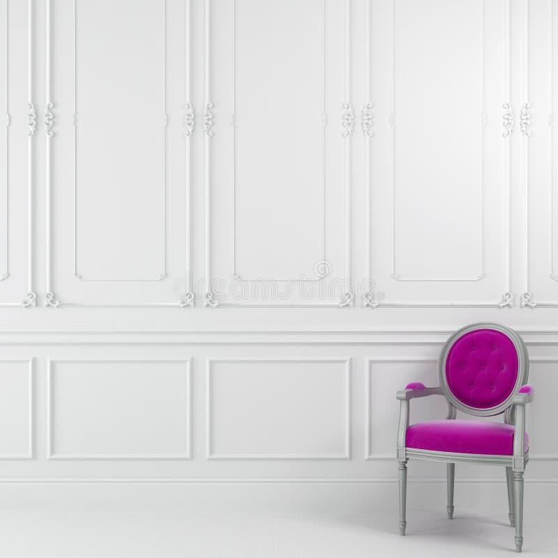 Cadeira cor-de-rosa no interior branco ilustração royalty free