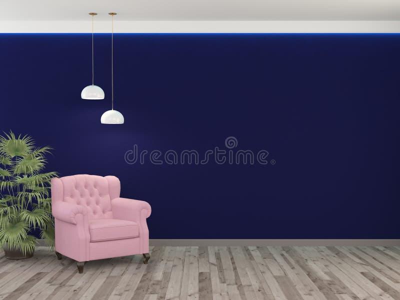 Cadeira cor-de-rosa, planta da palma e parede azul com duas lâmpadas rendi??o 3d ilustração do vetor
