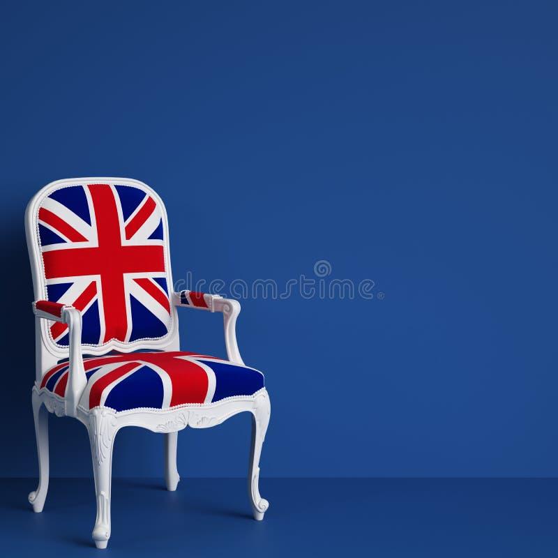 Cadeira da bandeira de Reino Unido no fundo azul com espaço da cópia ilustração royalty free
