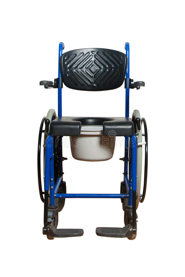 Cadeira da cômoda para a pessoa idosa Cadeira de rodas com a cesta do toalete para para a pessoa deficiente fotos de stock royalty free