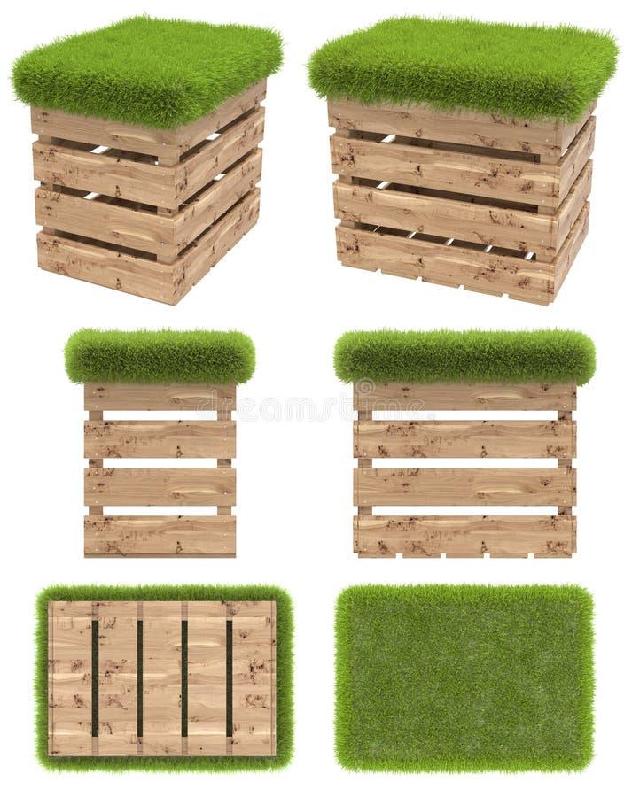 A cadeira da caixa de madeira ou da pálete com um assento da grama Mobília do jardim Vista superior, vista lateral, vista diantei ilustração stock