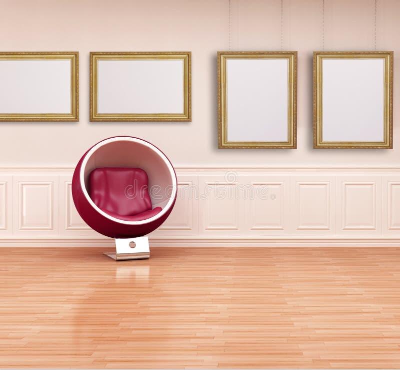 Cadeira da esfera em um interior clássico ilustração do vetor