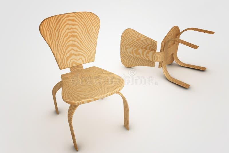 cadeira da madeira 3d ilustração stock