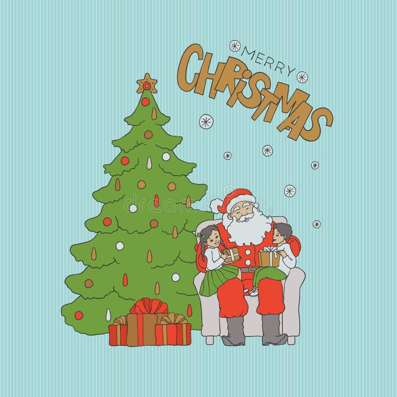 A cadeira de assento de Santa sob a árvore com as crianças em joelhos e dá presentes Rotulação do ouro do feriado do Natal do car ilustração stock