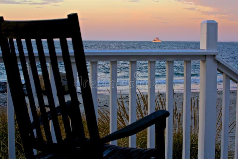Cadeira de balanço do oceano do barco fotos de stock