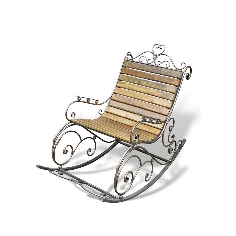 Cadeira de balanço forjada de madeira metálica do vintage isolada sobre o branco fotos de stock royalty free